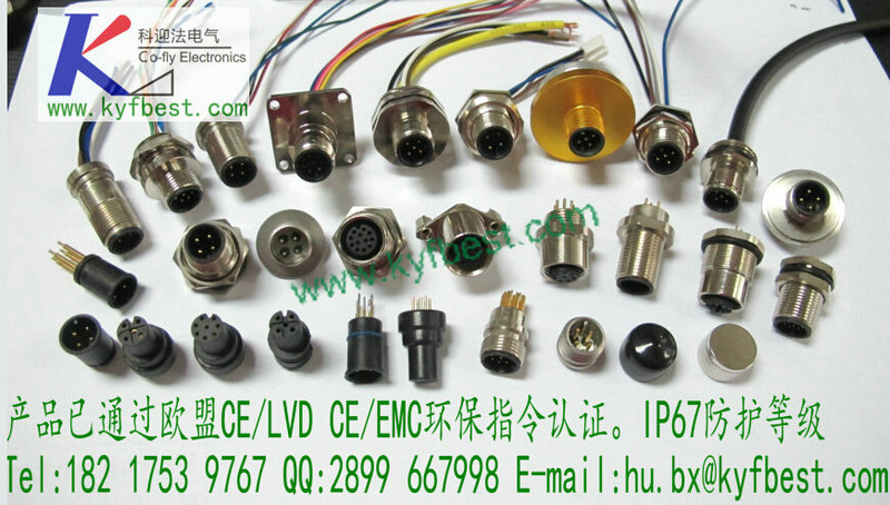 M12系列法兰插座产品描述:M12X1-3 针、4 针、5 针、8 针、12 针/3孔,4孔,5孔,8孔,12孔/ 圆法兰(或扁法兰、六方法兰、四方法兰、PG9)-安装螺纹M12、M15、M16X1.5、PG9-不带线、配O 圈、螺母(或要求焊线,长度任选)