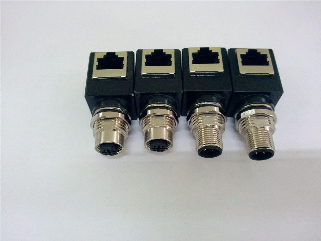 RJ45 —M12工业以太网交换机连接器完全按照针脚定义自制的工业以太网通讯线,用万用表测量两头导通没问题,结果用到现场死活通讯不上,TP灯慢速闪烁,这是为什么呢?是交换机端口功率不够么?很显然不是,这次连直接用PC上的端口都扫描不到现场的以太网设备!已经入夜很久,客户坚称网线是没问题的,难道就这么通宵耗下去?