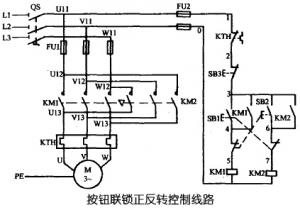 三相异步电动机用按钮控制可逆运行线路