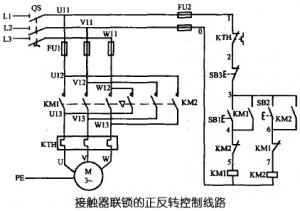 三相异步电动机用接触器控制的可逆运行线路